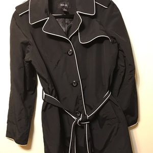 Style & Co black raincoat w/belt